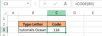 Code Function in Excel