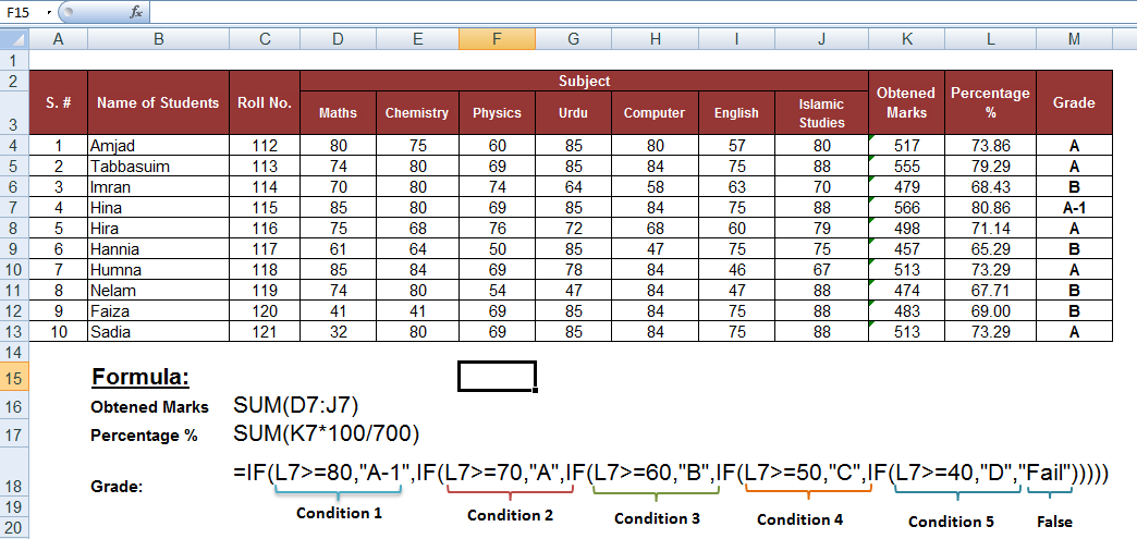 nested condition in if function